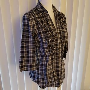Black Plaid Ruffle Button Down Shirt L